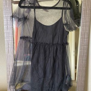 TOPSHOP NWT Black dress w/ black sheer overlay US8